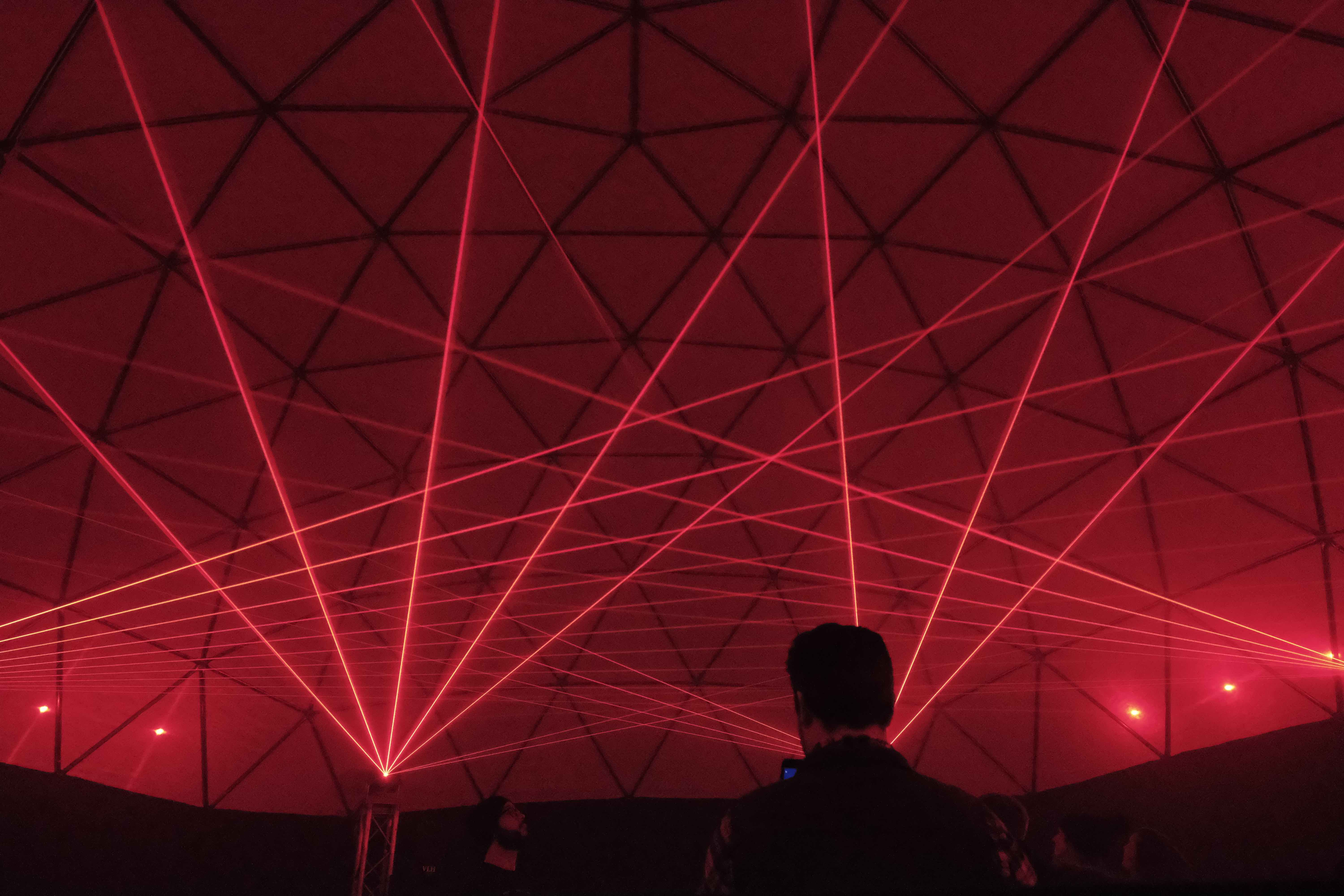 red laser beams holiday dome louisville